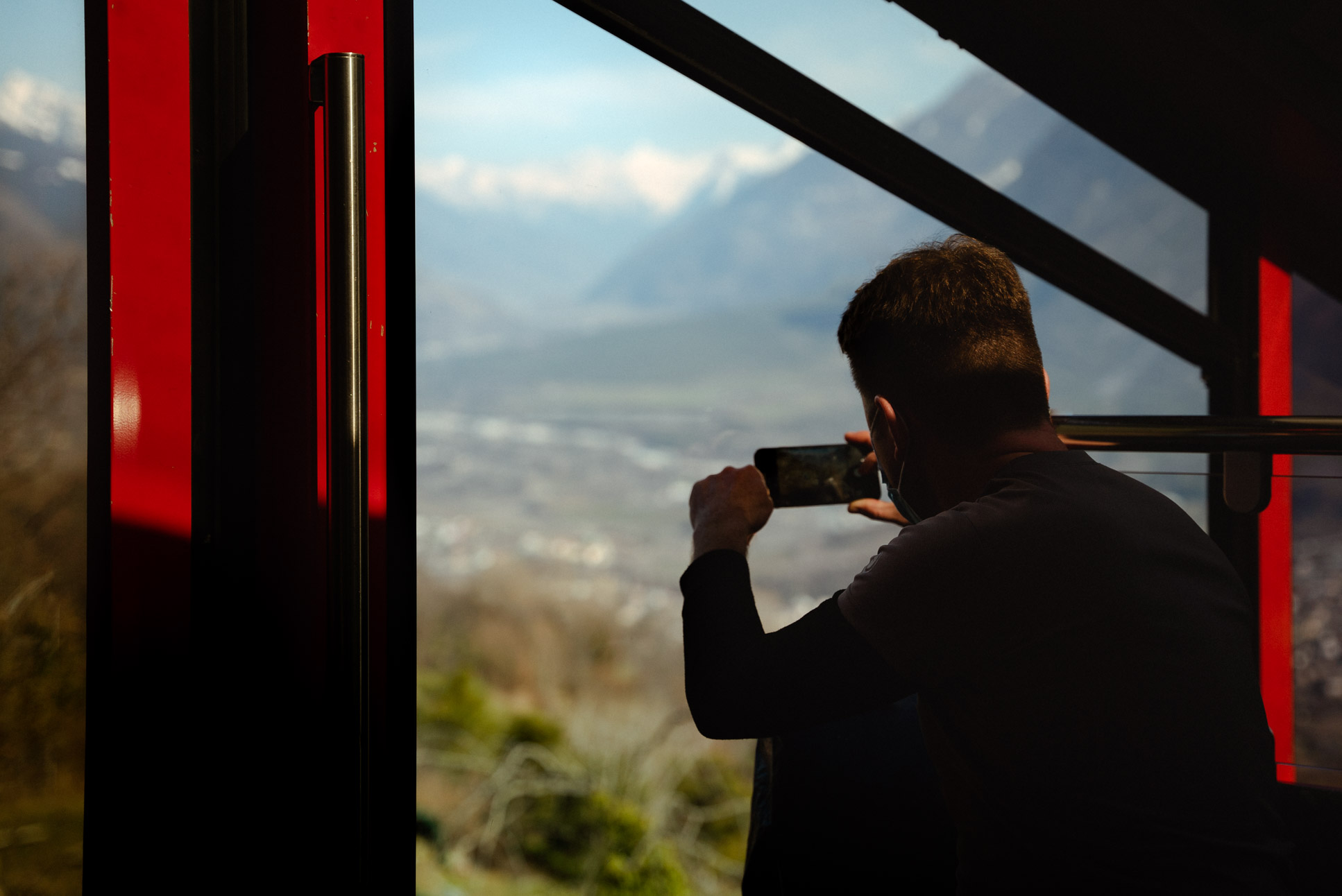 Enjoying the view of the river Rhone from a funicular.