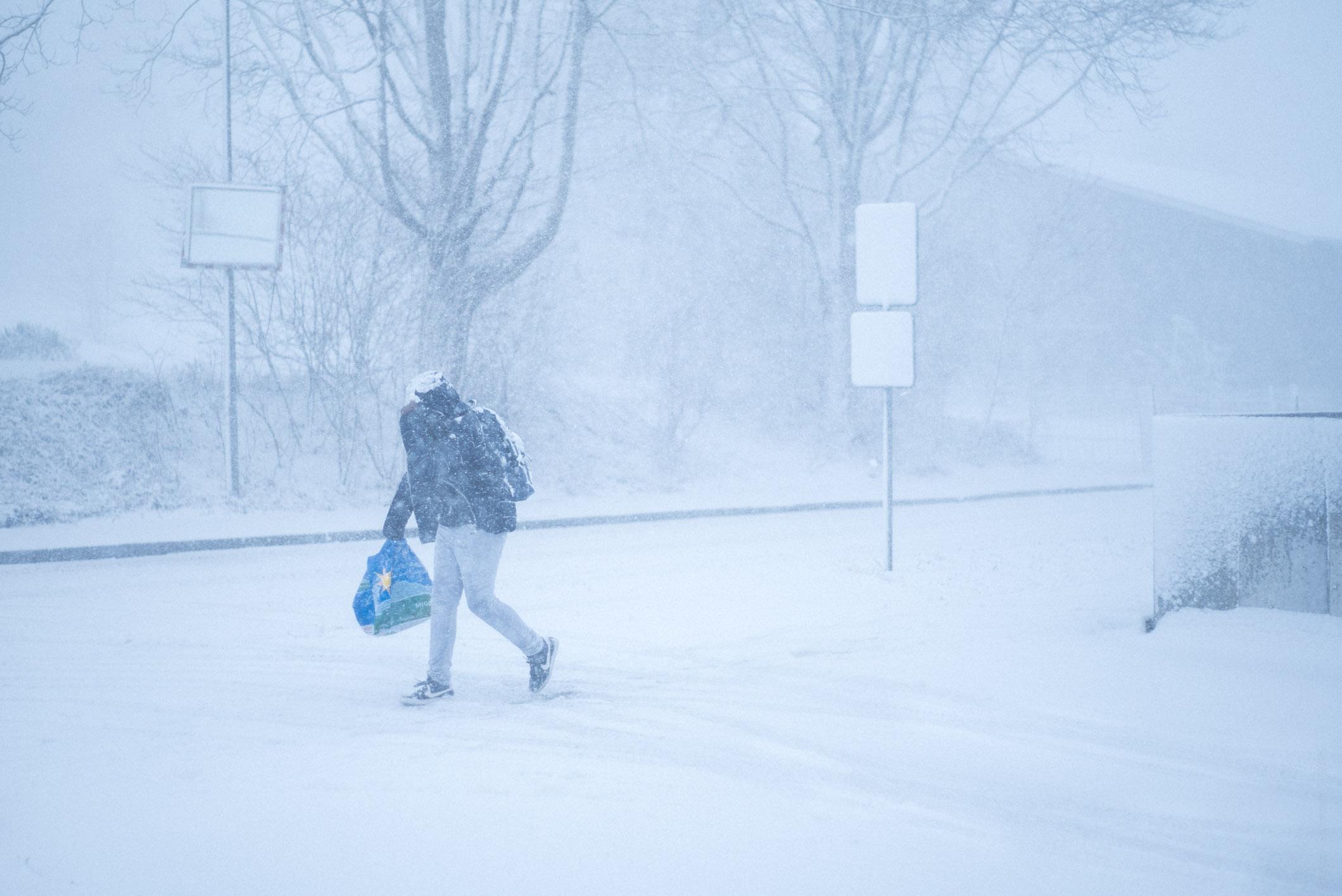 Sudden snowstorm in Ittigen