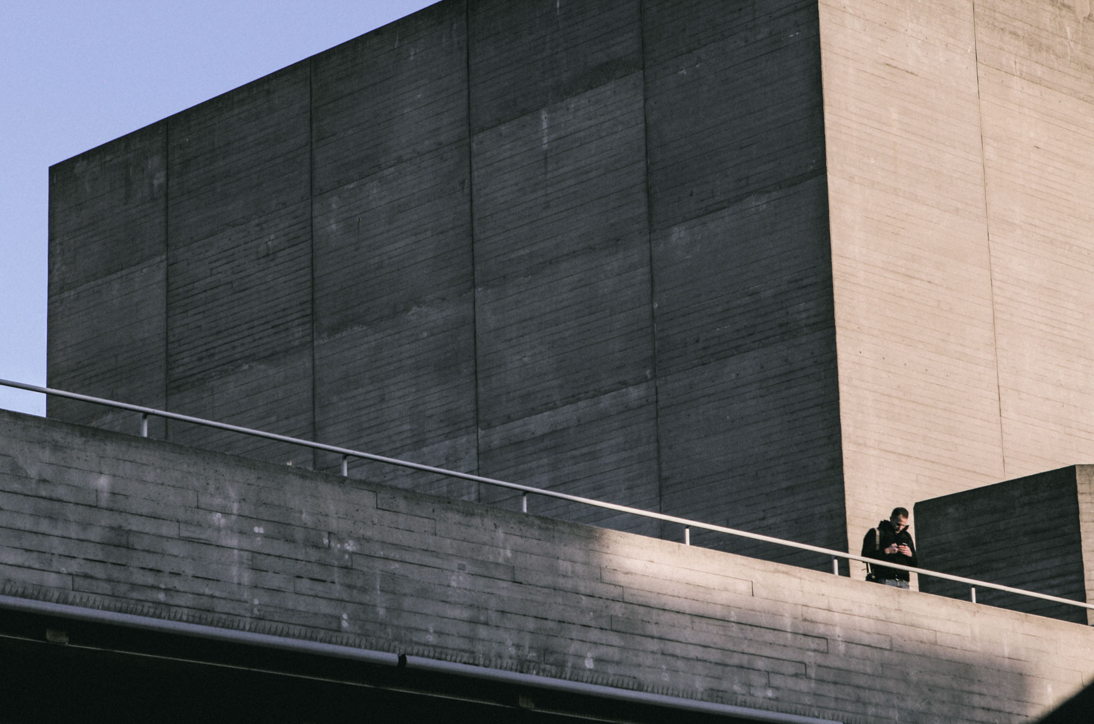 Outside the National Theatre in London