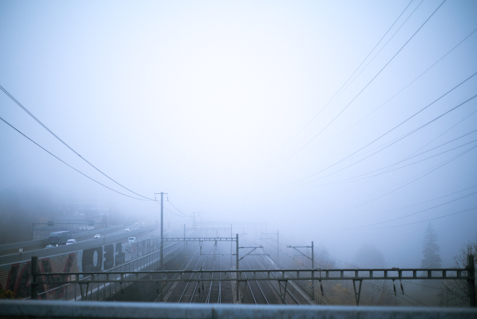 railway infrastructure in the fog. of course I take out my camera.